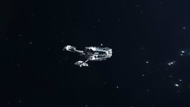 Sci-Fi Battleship Flying Through Deep Space video