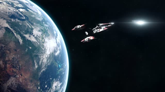 Sci-Fi Battleship Leaving Planet Earth and Heading into Outer Space video