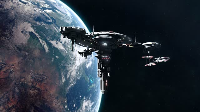 Sci-Fi Battleship Leaving Space Station in Earth Orbit video
