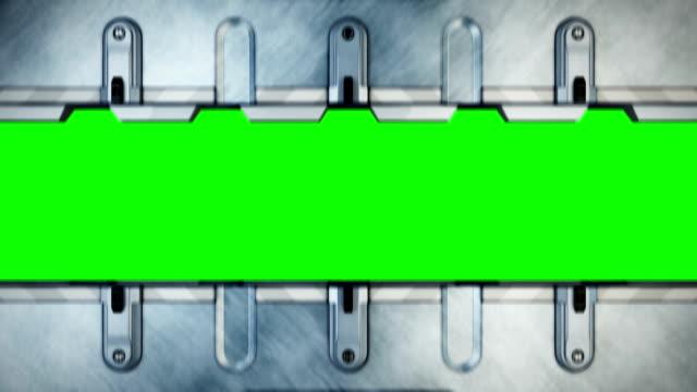 vídeos de stock, filmes e b-roll de sci-fi portões abrem e fecham. - ferro metal