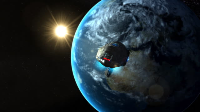 Sci-fi spaceship Futuristic spaceship leaving Earth. space exploration stock videos & royalty-free footage