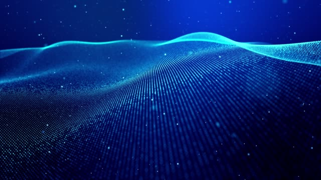 Sci-fi theme of microworld, nanotechnology or cosmic space. 4k looped abstract blue background of glow particles form lines, surfaces as futuristic landscape in cyberspace or hologram.