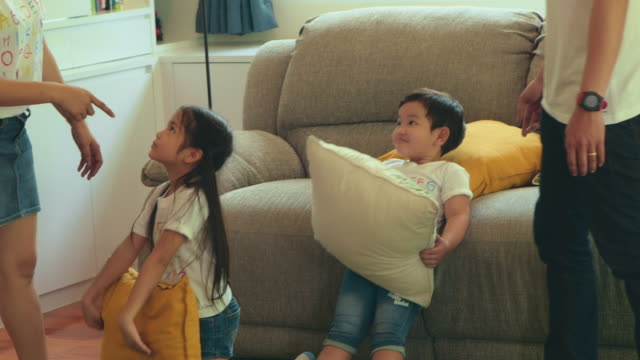 Scolding Children fighting with pillows wrestling stock videos & royalty-free footage
