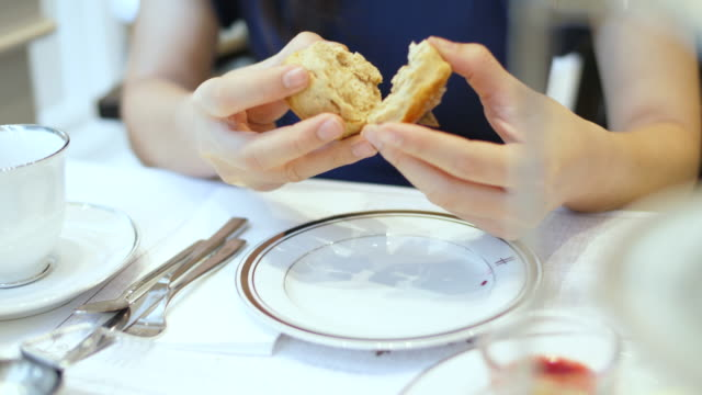scone with afternoon tea - english video stock e b–roll