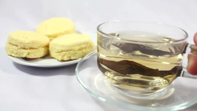 Scones biscuit with hot tea. video