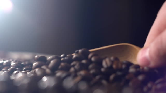 Scoop of coffee beans with a wooden spoon video