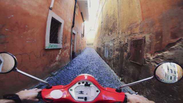 POV scooter riding in Italy: on the motorbike in a narrow alley POV scooter riding in Italy: on the motorbike in a narrow alley action movie stock videos & royalty-free footage