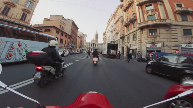 POV scooter riding: on the motorbike in the city of Rome