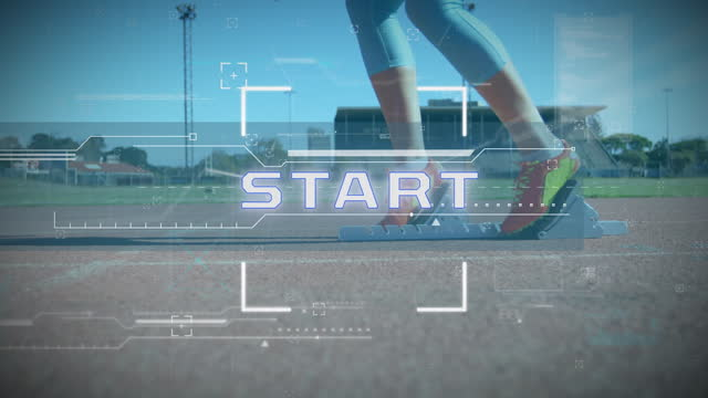 Scope over Start text and data processing against female athlete standing on starting blocks