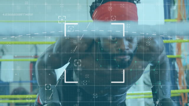 Scope scanning and data processing over male boxer doing push ups Animation of digital interface with scope scanning and data processing over male boxer doing push ups. Global computer network technology concept digitally generated image. push ups stock videos & royalty-free footage