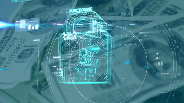 Scope scanning security padlock icon against American dollars rotating