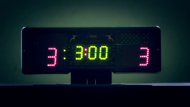 Scoreboard of fencing . Digital professional fencing score board with digits or numbers 0 to 15 .