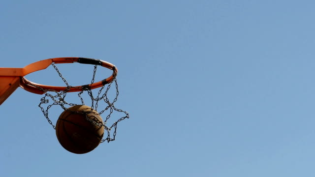 Scoring a basket in a basketball hoop. video
