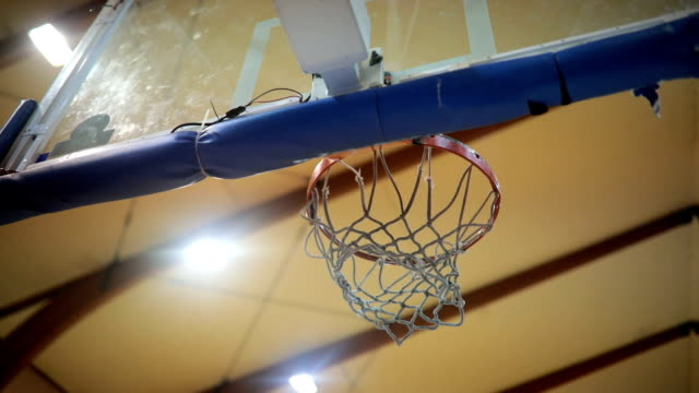 Scoring and getting points View of human hand shooting the ball in basketball hoop basketball stock videos & royalty-free footage
