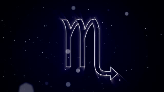 Scorpio zodiac sign on purple