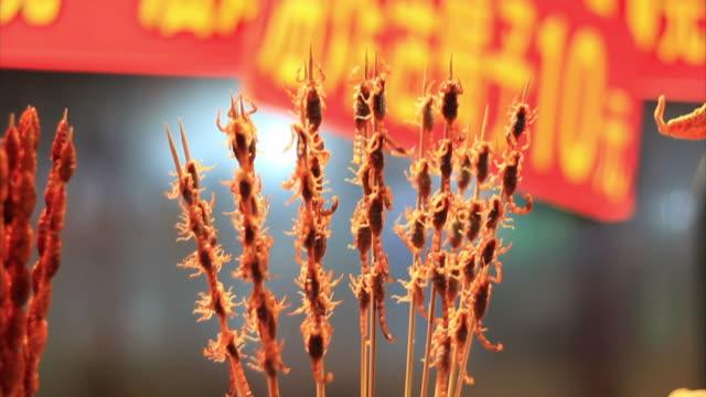 Scorpion brochette in chinese market video