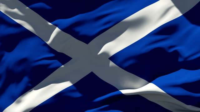 4K Scottish Flag - Loopable 3840x2160 UHD 3D Rendered Animation - Seamless Loop scotland stock videos & royalty-free footage