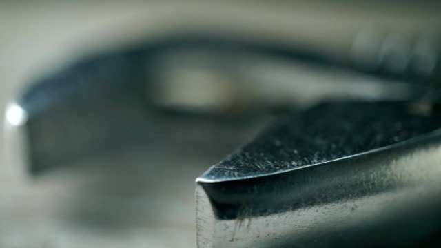 Scratched adjustable wrench macro clip video