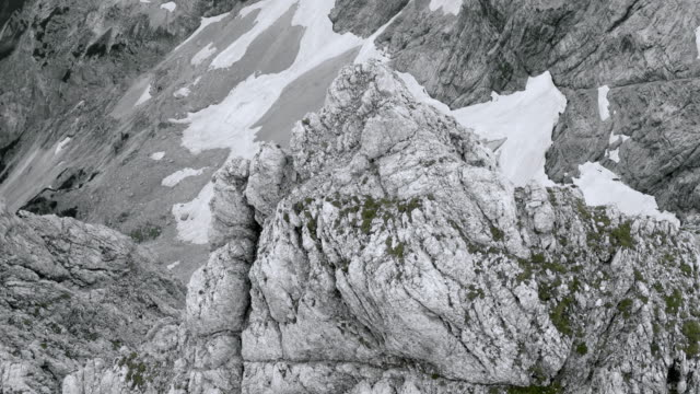 AERIAL Scree slope below a rugged mountain top