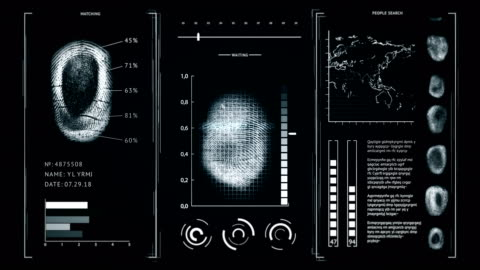 Screen fingerprint scanning, interface search finger prints people Dark Gray color Screen fingerprint scanning, interface people search finger prints Dark Gray color, 4K video identity stock videos & royalty-free footage