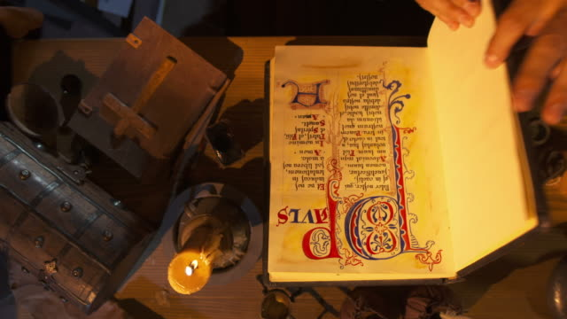 HD CRANE: Scribe Examining His Book Of Psalms video