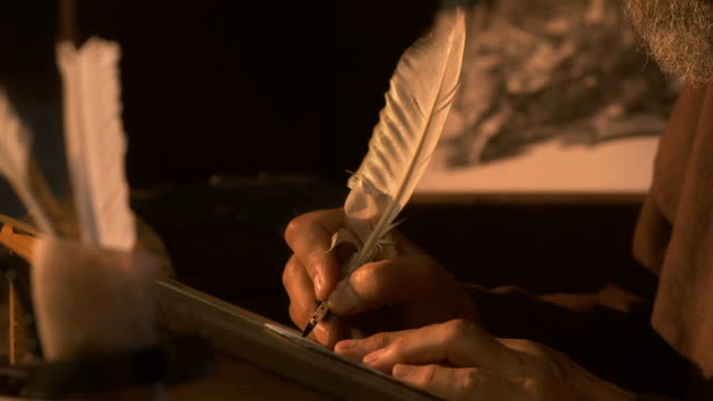 HD: Scribing Ancient Text With A Quill Pen video