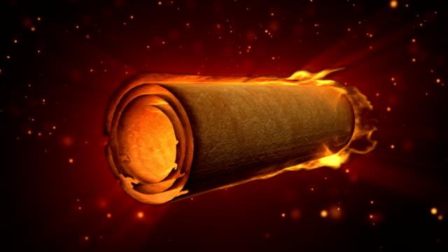 scroll auf feuer animation (hd - schriftrolle stock-videos und b-roll-filmmaterial