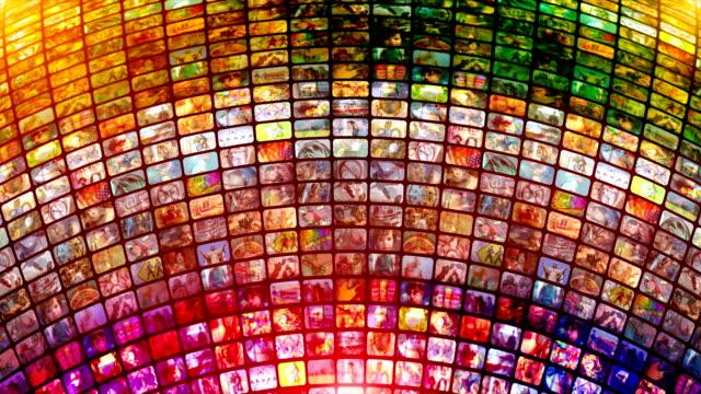 Scrolling media related LOOP. Multimedia Wall, Information Medium, Streaming, Broadcasting. video