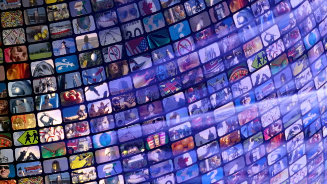 scrolling media related loop. multimedia wall, information medium, television, broadcasting. - 下載 個影片檔及 b 捲影像