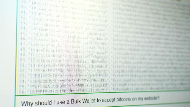 生成されたビットコイン アドレス、プライベートとパブリック キーの tousands をスクロール - 豊富点の映像素材/bロール