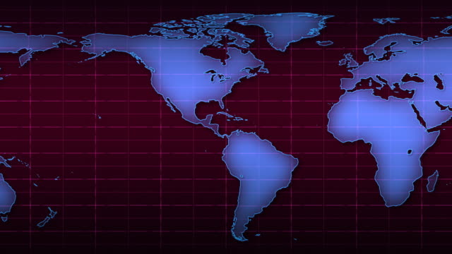 Scrolling World Map Over Magenta Grid, HD video