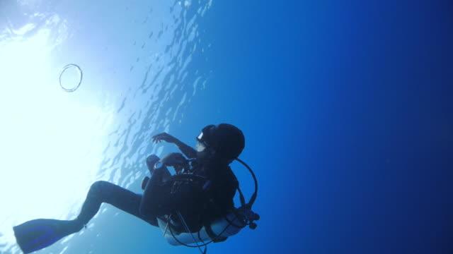 vídeos y material grabado en eventos de stock de anillos de burbuja que sopla de scuba diver - buceo con equipo