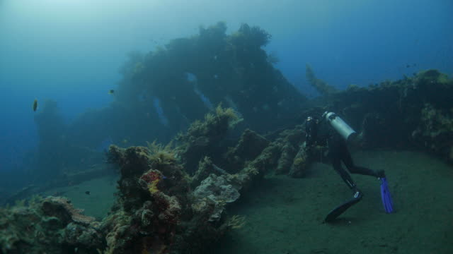 Scuba diver in front of USAT Shipwreck undersea, Indonesia (4K)