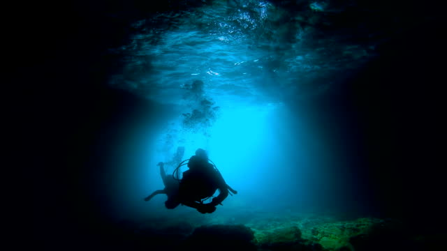 Scuba Divers Exploring an Underwater Cave Two silhouettes of Scuba Divers swimming, with sun rays in a cave. aqualung diving equipment stock videos & royalty-free footage