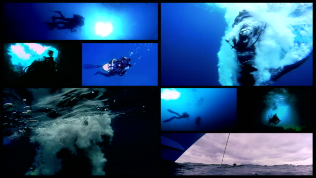 水肺潛水概念多屏視頻 - 氧氣筒 個影片檔及 b 捲影像