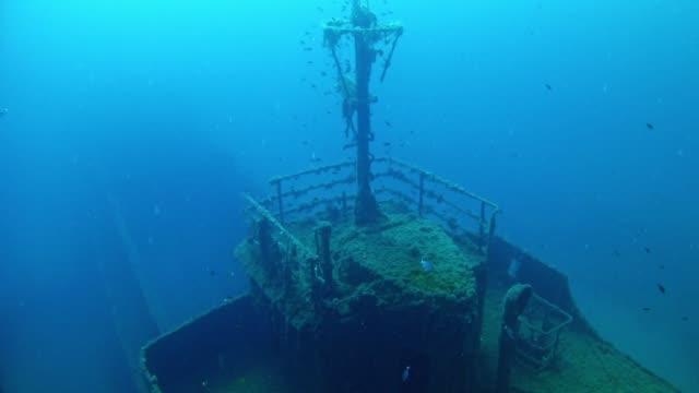 scuba diving in a shipwreck - кораблекрушение стоковые видео и кадры b-roll