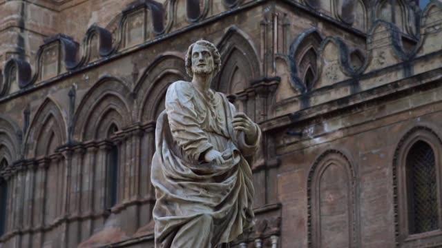 巴勒莫大教堂雕塑雕像,巴勒莫大教堂。 - sicily 個影片檔及 b 捲影像