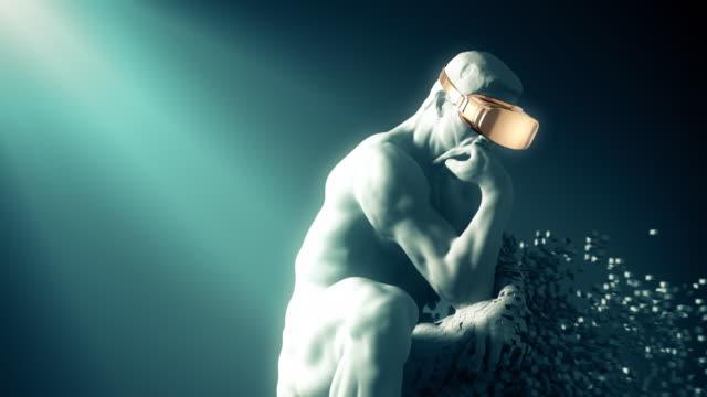 4K. Sculpture Thinker With Golden VR Glasses Desintegrated Into 3D Pixels.