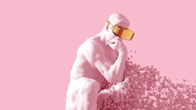 Video 4K. Sculpture Thinker With Golden VR Glasses Desintegrated Into 3D Pixels On Pink Background.