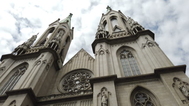se cathedral in sao paulo city - gothic architecture stock videos & royalty-free footage