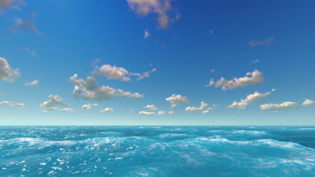 Sea and sky Blue sky with sun and puffy clouds over sea. Computer generated ocean background. sea stock videos & royalty-free footage
