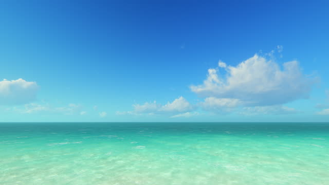 Sea and sky Blue sky with moving clouds over sea. Computer generated ocean background. summer background stock videos & royalty-free footage