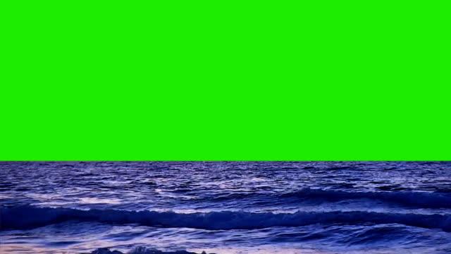 stockvideo's en b-roll-footage met zee en de golven op de achtergrond van een groen scherm - groene kleuren