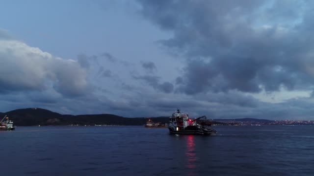 Sea Approaching to Towboat Sunset