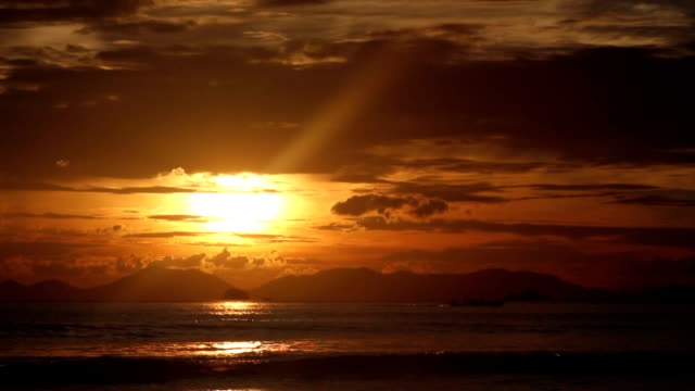 sea at sunset. with sound - sky diving video stock e b–roll