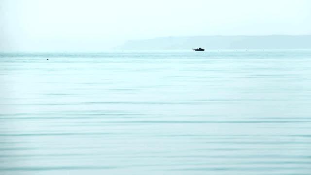 Sea fishing. Morning. video
