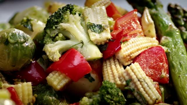 few shots! sea food composition and salads. shrimp, salmon, black caviar. combination. - frying pan bildbanksvideor och videomaterial från bakom kulisserna