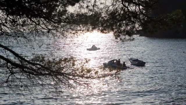 Sea Landscape with People in Pedal Boats video