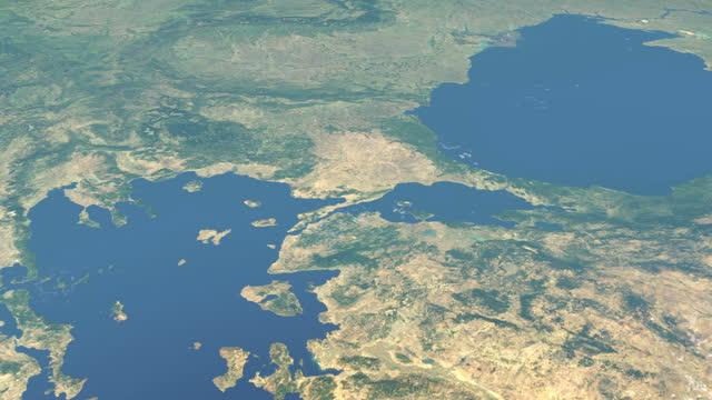 Sea of Marmara in planet earth, aerial view from outer space Sea of Marmara in planet earth, aerial view from outer space çanakkale province stock videos & royalty-free footage