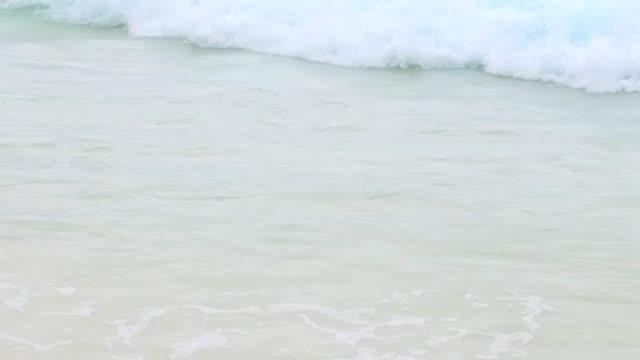 Sea Or Indian Ocean Waves On Beach On Seychelles Stock Video